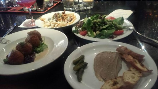 Bijou Restaurant & Bar : Mushroom risotto balls, pate, asian pear salad and gravy french fries