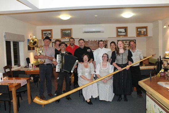Team at the Stony River Hotel (dressed for Austrian Schnitzel night)