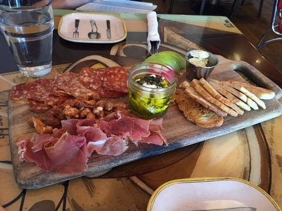 Shuga's Restaurant: charcutterie board with herbed goat cheese