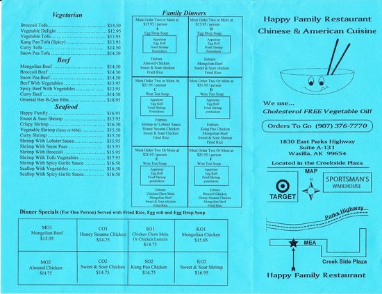 Happy Family Restaurant Menu Wasilla Ak