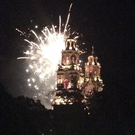 Casona Rosa, Morelia: View from the Centro of fireworks over the Cathedral of Morelia