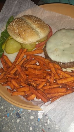 Crackers Bar & Grill: bison burger with sweet potato fries