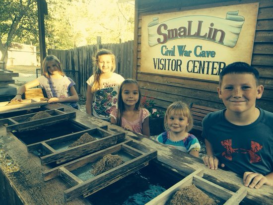 Smallin Civil War Cave: The children loved sifting for treasures.