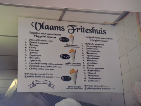 Vlaams Friteshuis Vleminckx: Menu Board