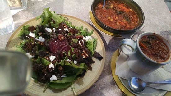 Fig @ Courtney's House: Figie Salad and the days soup selection tomato with quinoa and veggies