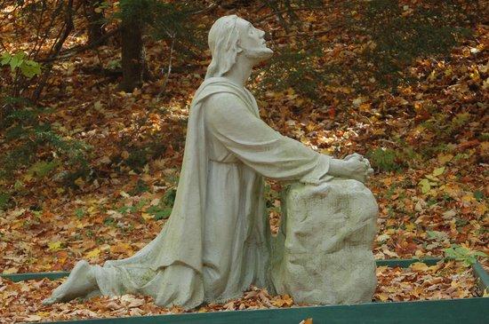 Sanctuaire De Beauvoir : One statue on the Gospel Walk