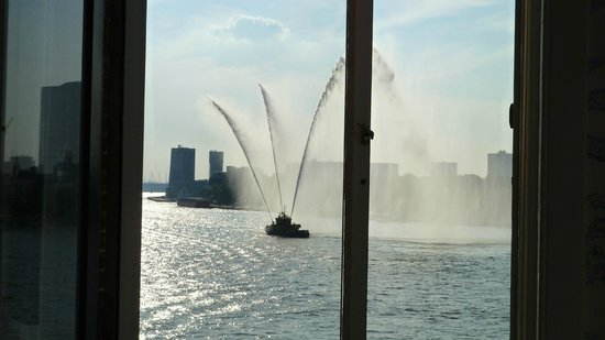 Hotel New York: A fire boat welcome in Rotterdam Harbor