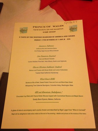 The Prince of Wales Restaurant: The menu for theme night