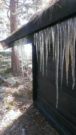 BIRK Husky Accommodation B&B & cabins: Icicles melting in the spring sunshine