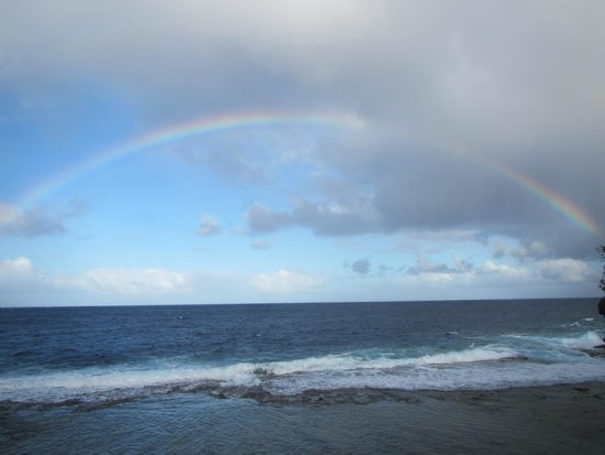 """Scenic Matavai Resort Niue: View from the """"beach"""" down the rope from the resort"""