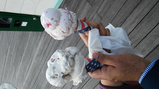 Brooklyn Ice Cream Factory: strawberry and butter pecan ice cream