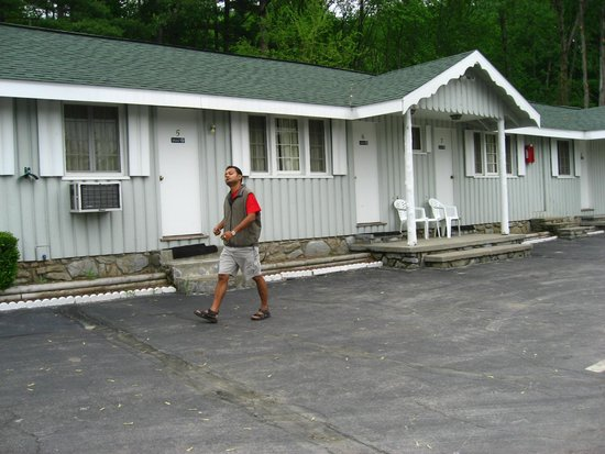 Studio Motel of Lake George: Morning walk by my friend