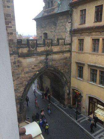 Charles Bridge Economic Hostel: View of Charles Bridge from window