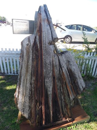 Ocracoke Preservation Museum: a ship's rudder, salvaged from the island