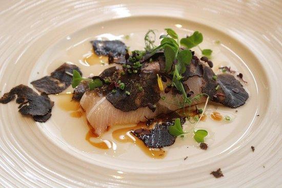 Sage: Hamachi with black truffle
