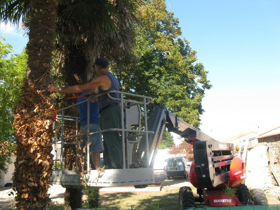 Camping L'Oceano d'Or: Motorenlärm Hebebühne direkt vor unserer Terasse