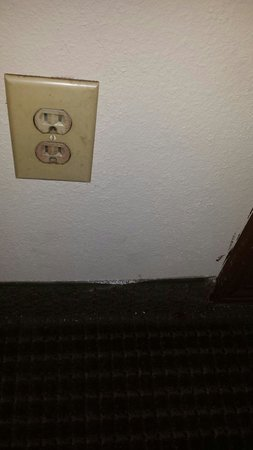 Days Inn Fairmont: Carpet coming off of floor/wall and filthy electrical outlet
