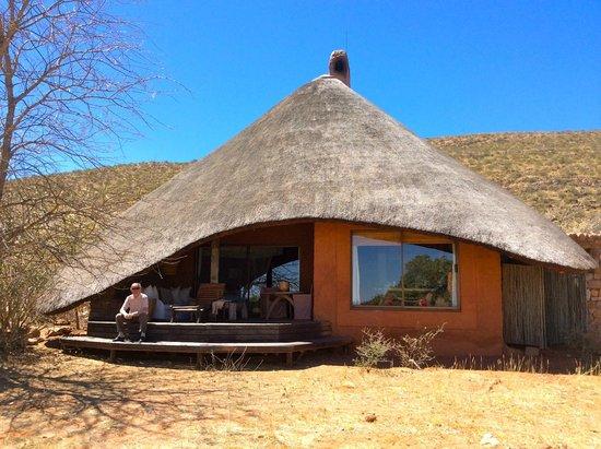 Tswalu Kalahari Reserve: l'arrière de notre habitation, qui donne sur la savane