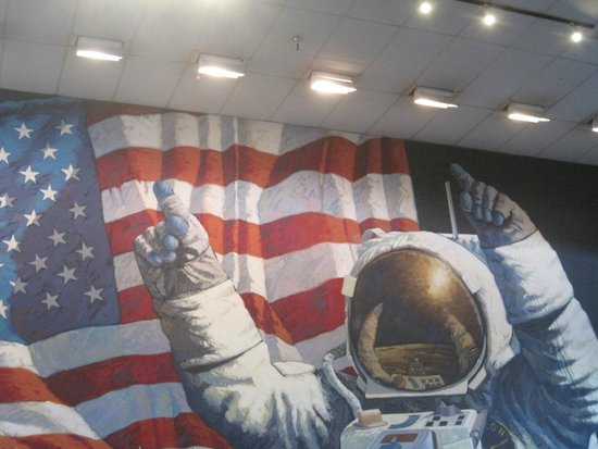 Moon landing mural - Picture of Space Center Houston ...