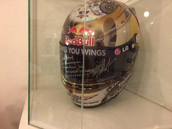 Schlossberg Hotel: In the hotel recption Sebastian Vettel's helmet