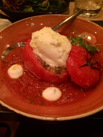Ergon London: The stuffed tomato with rice, herbs and cream cheese in a smokey sauce.
