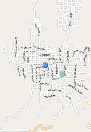 Hotel Plaza: Located on the east side of Plaza Armas in the center of town at these GPS coordinates: 6°13.764