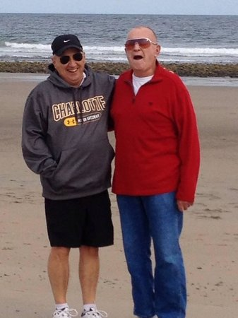 Wells Beach: my husband Paul and his godfather Frank