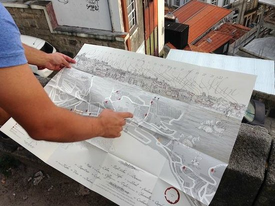 Looking at the Port Wine Cellar Map across from Vila Nova de Gaia