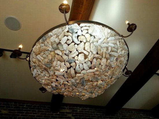 Oyster shell chandelier picture of amen street fish raw bar amen street fish raw bar oyster shell chandelier aloadofball Image collections