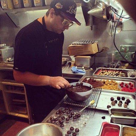 Giapo Ice Cream: Gianpaolo at work on new toppings