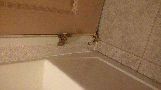 Crown Choice Inn & Suites Lakeview & Waterpark : Bathroom mild and rust on door frame