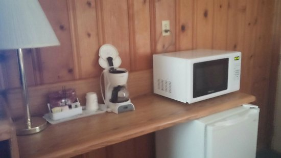 Dell Creek Motel: Nice little set-up fridge, mic, coffee maker