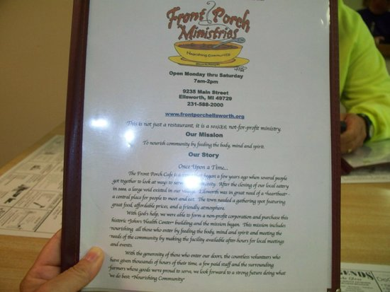 The Front Porch Cafe: Menu with mission statement on cover