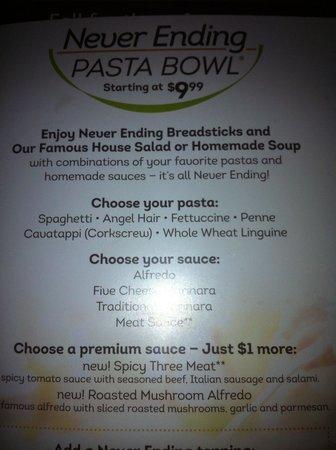 olive garden selected off never ending pasta menu - Olive Garden Fort Collins
