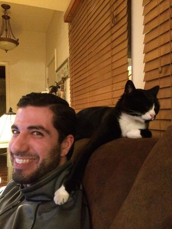 Kokopelli Inn: Boots with his paw on my fiance Dan's shoulder