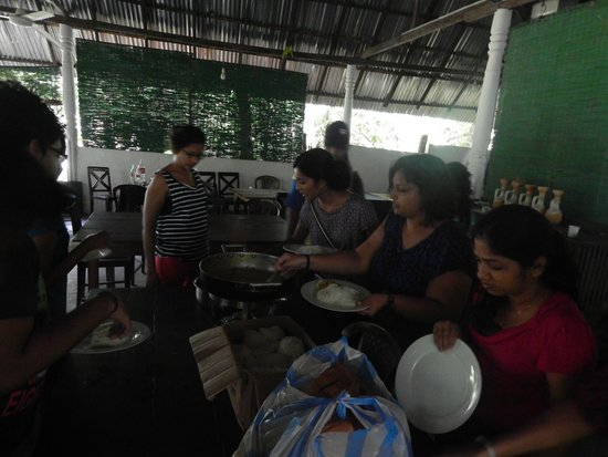 Sisira's River Lounge: Morning breakfast, String hoppers, Dhall curry, Potato and Coconut sumbol