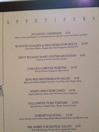Molly Pitcher Inn: menu