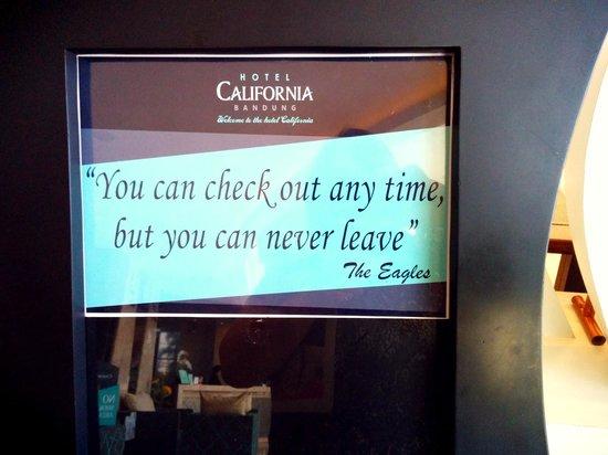 Hotel California Bandung: signage for the bfast room lol