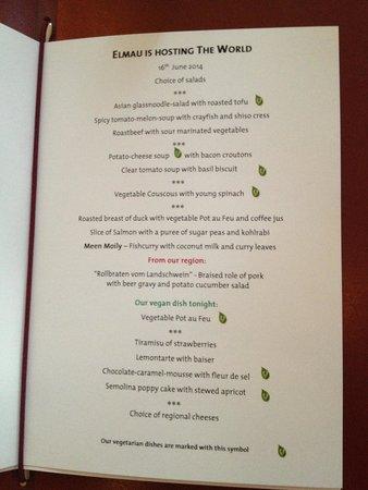 Schloss Elmau: La Salle Buffet Dinner menu