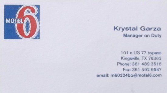 Motel 6 Kingsville: Business card on may 2014