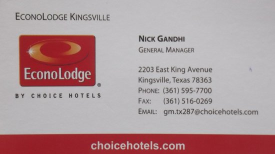 Business card on may 2014 picture of executive inn kingsville executive inn business card on may 2014 colourmoves