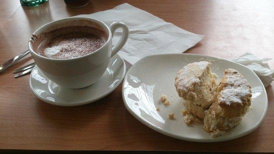 Garden Centre: Hot Chocolate And Cream Scones, Dobbies, Ayr, Scotland