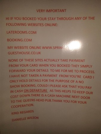 Springfield Guest House: Notice