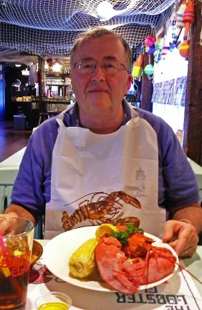 Lobster Claw : About to enjoy his Boiled Lobster with corn on the cob and baked potato. Anticipation!