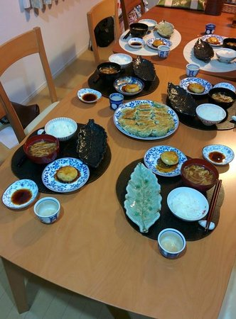 Japanese Cooking Class Tokyo with Mari Gyoza potato dumplings and miso soup. & traditional table setting in Japan - Picture of Japanese Cooking ...