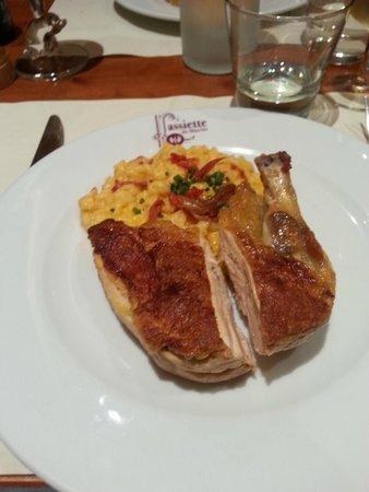 L'assiette du marche : Cuisse de pintadeau risotto au chorizo