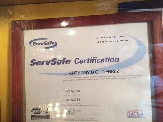 Another serve safe certificate - Picture of The Barn Dinner Theatre ...