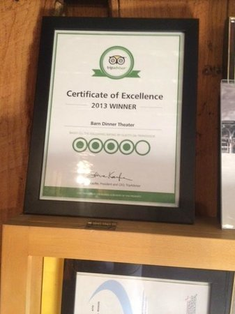 The Barn Dinner Theatre: Certificate from Trip advisor