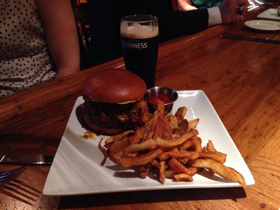 Golden Eagle Inn : Pub burger topped with pulled pork. So good!