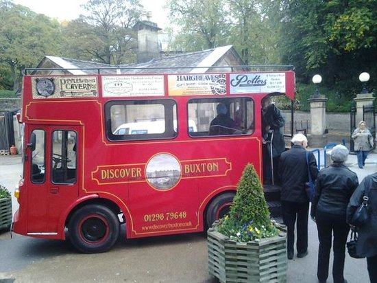 Discover Buxton Tours: The converted milk float with artificial upper deck.